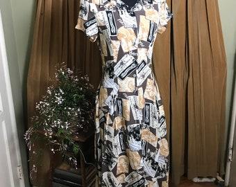 "Retro Automobile Themed Midi Dress, from ""Tiffany"""