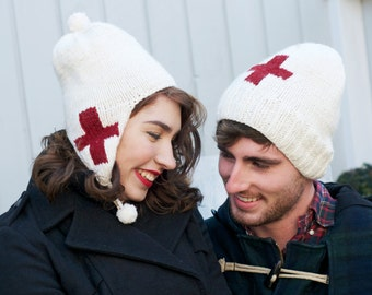Red Cross Hand Knit Wool Beanie Style or Earflap Hat