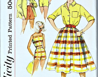 1950's Retro Summer Separates Pattern  SIMPLICITY 2553 Uncut, Factory Folded  Bust 34