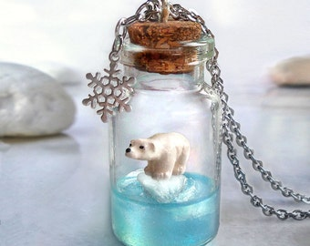 Polar bear necklace, animal lover gift, bear pendant bottle necklace, kawaii cute animal jewelry, kids jewelry, daughter gift, for teen