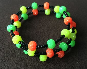 Neon Colored Beaded Brecelet