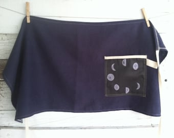 MOTHER'S DAY GIFTS, Linen Half Apron with Single Pocket - Indigo with Moon Phases