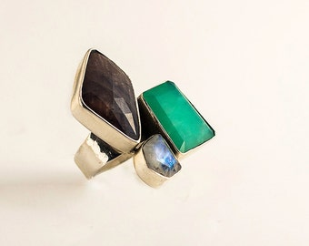 Silver ring - Gem stone ring - colorful ring - asymmetric ring - Statement ring- Gift for her