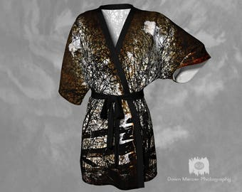 Vintage Kimono Robe Printed Art Robe Womens Kimono Sheer Kimono Robe Elegant Robe Silk Robes For Women Silky Kimono Chiffon Kimono Cool Robe