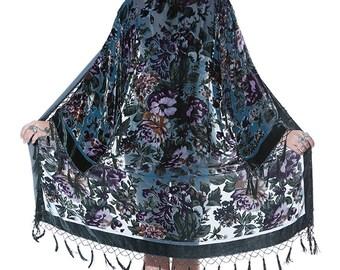 SALE 20% OFF // Joplin Floral Velvet Burnout Beaded Fringe Tassel Kimono