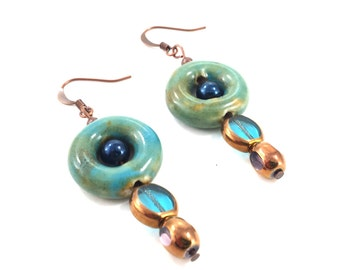 Earthy Teal, Green, and Copper Dangle Earrings