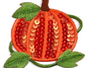 Pumpkin - Fall - Autumn - Harvest - Thanksgiving - Sequin/Embroidered Iron On Applique Patch
