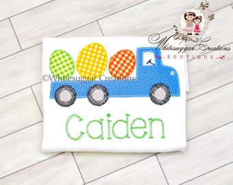 Easter Truck with Eggs Shirt - Custom Easter Flatbed Truck Shirt - Baby Boys Easter - Personalized - Vintage Stitches - Monogrammed Outfit