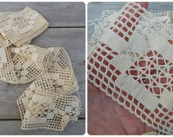 Antique 1900 Edwardian French handmade cream cotton lace 2 yards & half