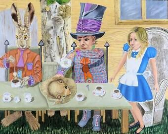 Alice in Wonderland Original 24 x 36 Oil Painting of The Tea Party