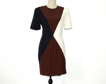 Color Block Dress - 80s Vintage Secretary Dress - Mondrian Dress - Color Blocked Normcore Preppy Dress - Geometric Fitted Dress