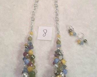 """Pastel Color Bubble Necklace, 19"""" with Various Authentic Beads and matching earrings"""