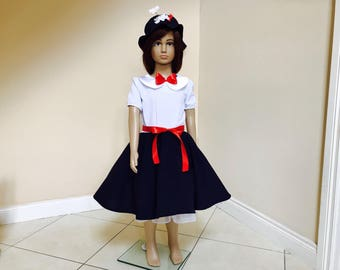 MARY POPPINS costume, Mary Poppins dress, tea party dress, girls costume dress.