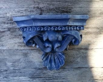 Blue with Silver Glaze Wall Shelf
