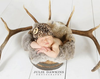 BABY CAMO BEANIE Newborn Hat Photo Prop Photography Crochet Boy Girl Military Hunting Hunters Brown Camouflage Duck Deer
