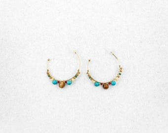 Hypoallergenic Silicone Wood and Beads Hoop Earrings