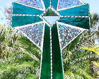 Stained Glass Cross, Stained Glass Suncatcher, Cross SunCatcher, Glass Sun Catcher, Cross, Christian Sun Catchers, Christian Gift, 9515-TL