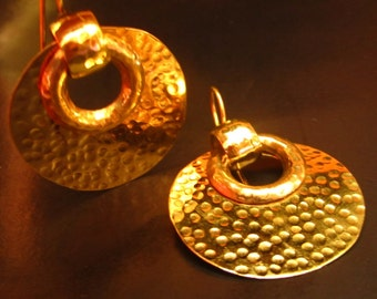 Brass Hoop Earring Moon with Dotted Texture