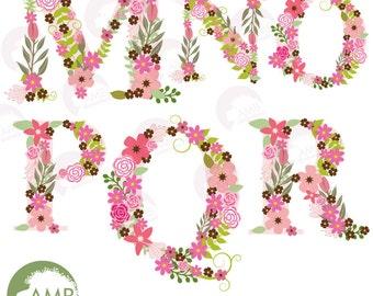 Floral Alphabet clipart, Alphabet clipart Letters M to R, Floral clipart, clipart, commercial use, digital clip art, AMB-1104C