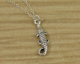 Alligator or Crocodile Necklace, Sterling Silver Alligator Charm on a Silver Cable Chain