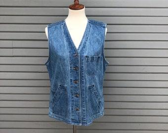 Vintage jean vest // St. John's Bay