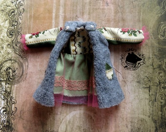 Luxury neo baroque whimsical jacket coat with Italian jacquard lining and pockets for Blythe / Pullip