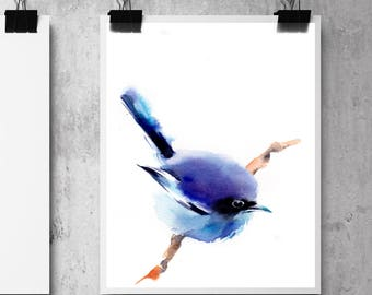 Blue bird fine art print, bird art, minimalist bird wall art print, watercolor print of bird