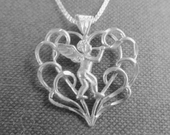 """Sterling Silver Cherub Necklace, Filigree Heart Necklace, Vintage Musical Angel Necklace, 20"""" Chain"""