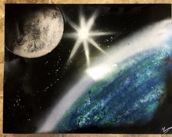 Earth and Moon - Spray Paint Art