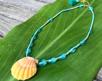 Golden yellow sunrise shell beaded  necklace
