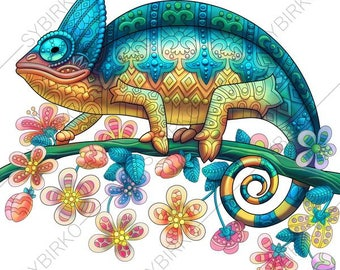 Coloring Pages for adults. Chameleon Lizard. Exotic colouring pages. Animal coloring book. Instant Download Print