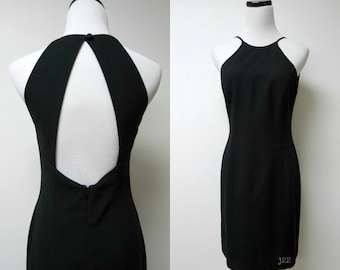 Laundry by Shelli Segal . 90s cut-out back . little black dress . size 4 . small . made in USA