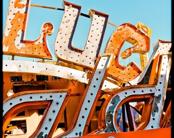 Neon Sign Letters, Las Vegas Neon Photography, Old Orange And Blue Neon Wall Art, Neon Letters, Las Vegas Fine Art Photography Print