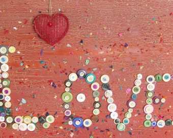 Button art painting red love