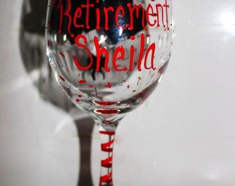 Retirement Wine Glass, Retirement Gifts for women