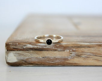 Black Onyx Sterling Silver Stacking Ring Minimalist Handcrafted Jewelry Small Stone Ring Thin Band Ring Hammered Ring