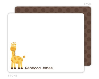 Giraffe Note Cards - Personalized Flat Note Cards - Giraffe Notecards - Kids Stationery - Kids Thank You Cards - Giraffe Stationery