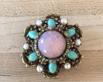 Imitation Opal with Real Pearl and Turquoise Gold Toned Brooch