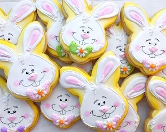 6 Bunny Face Sugar Cookies