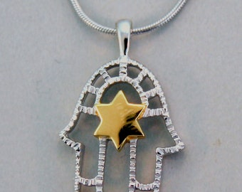 Chamsa and Star of David Sterling Silver  Pendant.