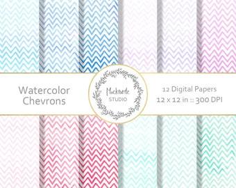 Chevron digital paper - Chevron clipart - Scrapbook paper - Watercolor Chevron Digital Paper - Watercolor Digital Paper - Commercial use