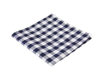 Navy Gingham Pocket Square.Navy Plaid Cotton handkerchief.Mens checkered Hankies.Wedding.Navy Gift Set.Mens Gifts
