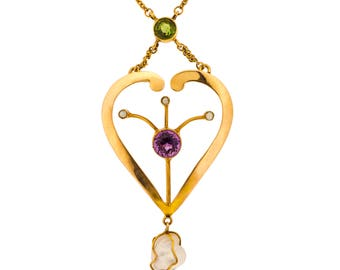 Striking Suffragette Amethyst, Tourmaline and Pearl Necklace in 9ct Yellow Gold (5009047)