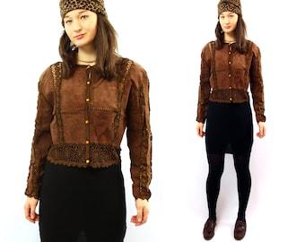 Crochet leather jacket Coffee Brown Womens cardigan blazer Hippie boho 80s amber buttons vintage summer festival / Medium
