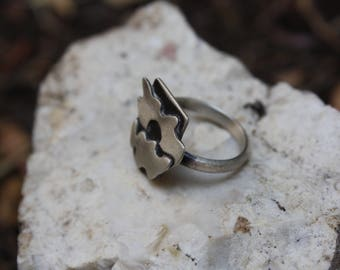 California Poppy Ring. A Sterling Silver Ring With Abstracted Poppy Flower.
