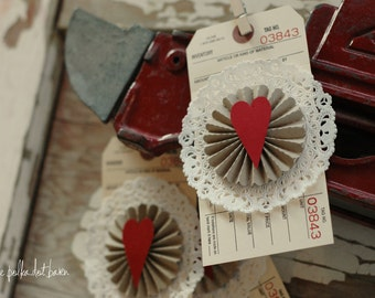 heart lollie doily tag, set of 3