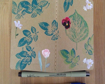 Writing Journal, Stocking Stuffer, Decorated Journal, Gift for Writer, Moleskine Notebook, Moleskine Journal, Small, Flowers, Plants, Floral