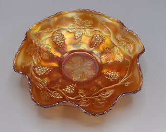 Vintage Marigold Vintage by Fenton Carnival Glass Bowl Grape and Leaf Pattern