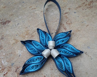 Blue Christmas tree ornament Modern trendy quilled paper flower Decoration Holidays