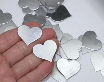 """Silver heart blanks (5) 1"""" brushed aluminum no-hole stamping blanks, solid silver grey metal hearts for crafts & jewelry, sold in sets of 5"""
